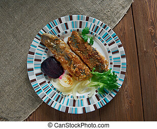 Scottish Herring Fried fish in Oatmeal