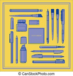 Stationery writing tools set.