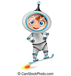 Cute cartoon astronaut surfing on jet board isolated