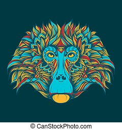 Colorful baboon monkey face doodle