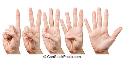 Woman hand shows with fingers from one to five - Woman's...