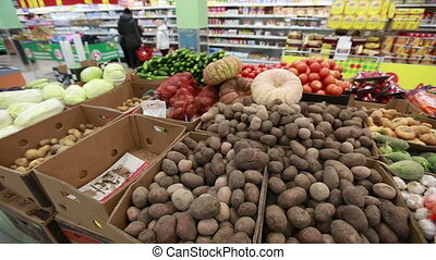 fresh vegetables in a supermarket grocery - Medium shot...