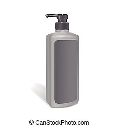 shampoo bottle with blank label isolated on white background