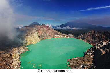 Ijen - Lake in a Crater of Volcano Ijen, Java, Indonesia
