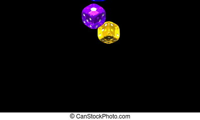 Colorful Dice On Black Background.