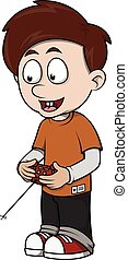 Boy playing rc car cartoon illustration