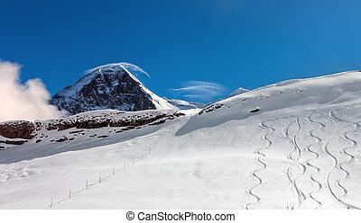 sci, pendio, in, il, fondo, di, monte, Eiger., ,