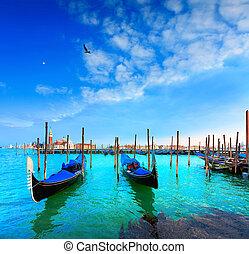 Venice, Gondolas, San Giorgio Maggiore Italy - Venice,...
