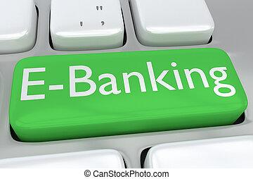 E-Banking concept - Render illustration of computer keyboard...