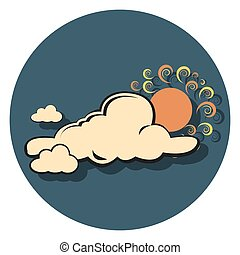 cloud and sun flat icon in circle.eps