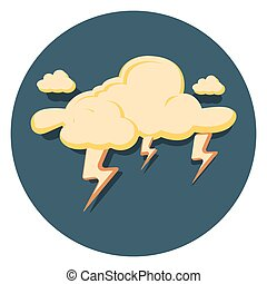 lightning flat icon in circle.eps