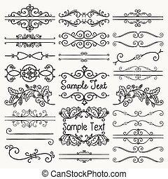 Vector Black Hand Drawn Dividers, Text Frames, Swirls - Set...