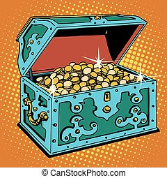 Treasure chest with Golden coins pop art retro style Pirates...