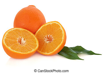 Orange Fruit - Orange fruit whole and in halves with leaf...