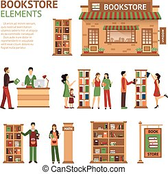 Flat Bookstore Elements Images Set - Images set of bookstore...