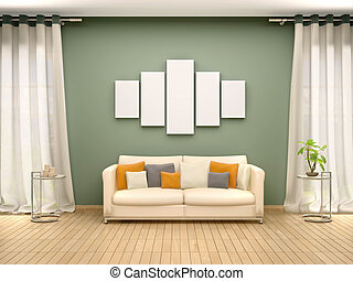 3d illustration of blank canvas above the sofa in the...