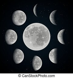 Moon phase set - Moon phases set on dark space background...