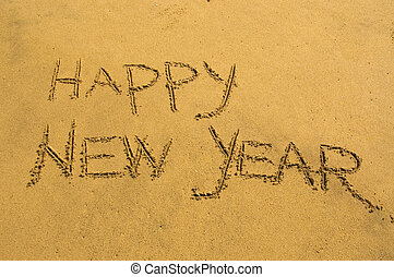 Happy New Year in the sand