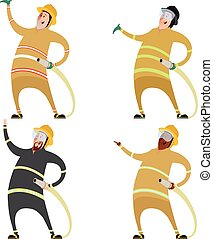 Set of firemans - Vector image of a Set of firemans