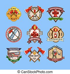 Firefighters Emblems Labels Collection - Fire dept quality...