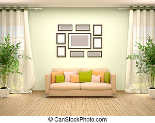 3d illustration of frames on a sofa in the interior
