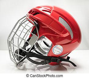 Hockey helmet - Red hockey helmet with cage on light...