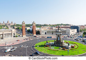 Square of Spain, Barcelona - skyline of Square of Spain at...