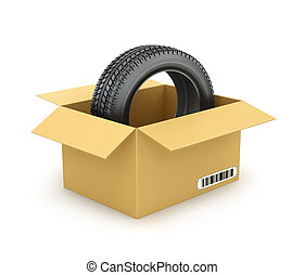 Car tire in a box