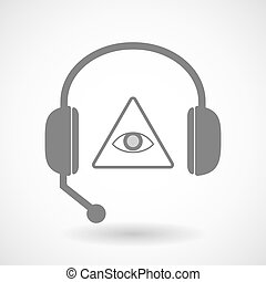 Remote assistance headset icon with an all seeing eye -...