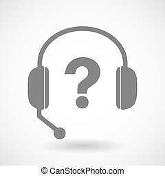 Remote assistance headset icon with  a question sign