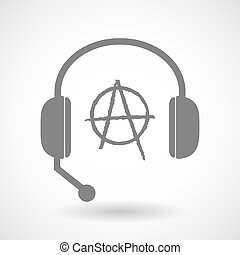 Remote assistance headset icon with an anarchy sign -...