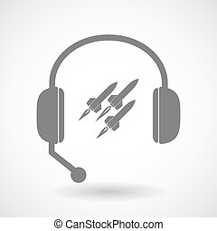 Remote assistance headset icon with missiles - Illustration...