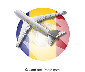 Plane and Andorra flag - Plane on the background flag of the...