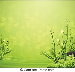 Flower and grass spring with water drop on green background