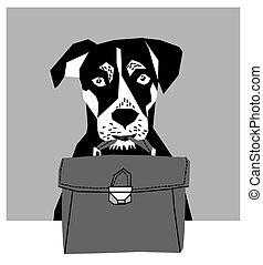 Friendly dog with business case grayscale.