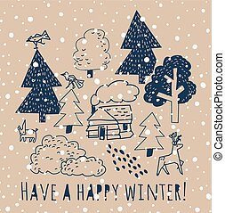 Winter greeting card with sign and snow.