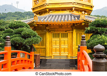 Beautiful Golden Pagoda Chinese style architecture in Nan...