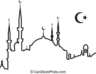 Silhouette of arabic city - mosque