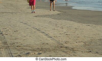 Unidentified people walking on the beach.