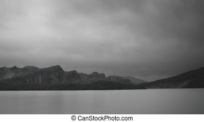 Monochrome Lake - Black and white lake panorama