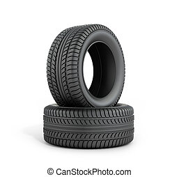 Two black rubber tires on a white background