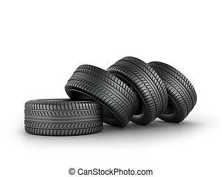 Four black rubber tires on a white background.