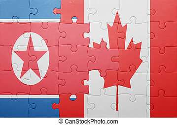 puzzle with the national flag of canada and north korea...