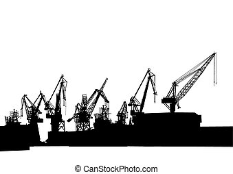 Cranes - Silhouettes of cargo cranes in the seaport on white...