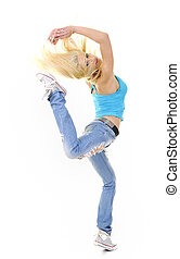 women fitness dance exercise - young blond woman isolated on...