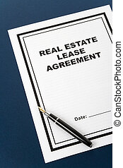 Real Estate Lease Contract and pen close up