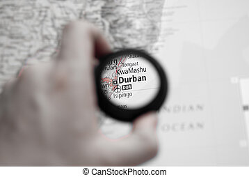 Map of Durban - Selective focus on antique map of Durban