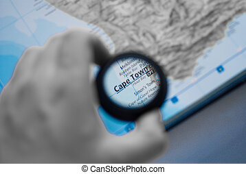 Map of cape town - Selective focus on antique map of cape...