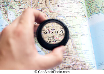 Map of Mexico - Selective focus on antique map of Mexico
