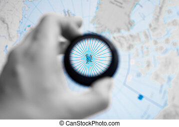 Map of North Pole - Selective focus on antique map of North...